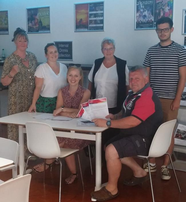 L to R: Dr Jane Salisbury, Memo trustee, Megan Merrett, Memo volunteers and participation co-ordinator, and trainee volunteers Jo Morgan, Julia Wise St-Leger, John Voss, and Joe Odgers