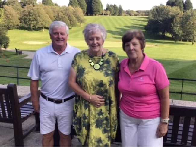 Andrew and Tina Church, winners of the Vaughan Thompson Tankards, pictured with club captain Lesley Sherrard (centre)