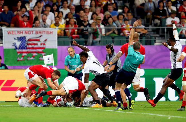 TOUGH TEST: Wales were under pressure when Fiji's Kini Murimurivalu scores his side's second try to earn a 10-0 lead