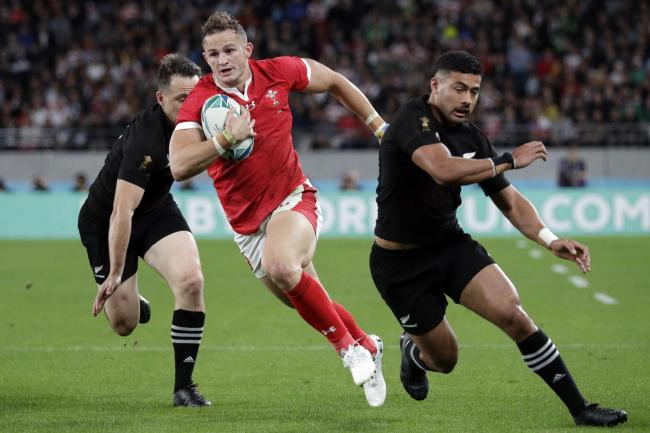 SIDELINED: Wales wing Hallam Amos in action against New Zealand at last year's New Zealand