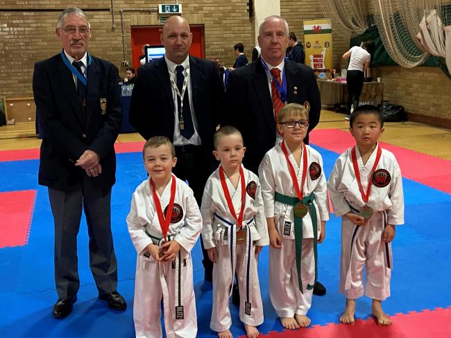 The 4-6 Boys Kata medalists