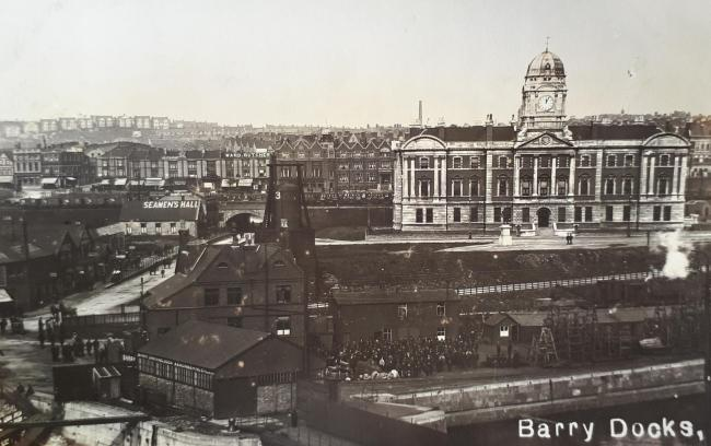 Barry Dock and the Dock Office in 1914