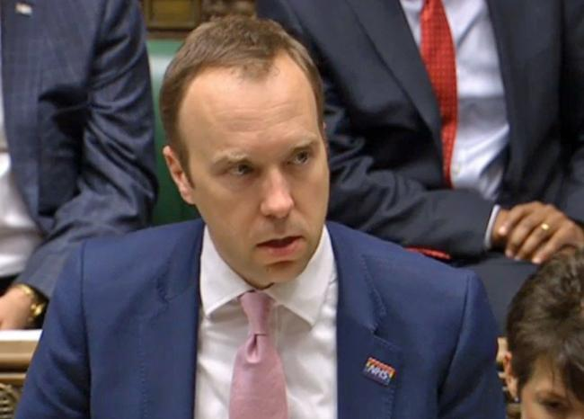 Health secretary Matt Hancock. Pic: PA Wire