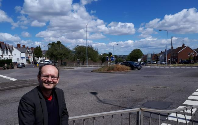 Cllr Ian Johnson at the Court Road roundabout