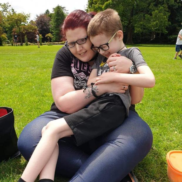 Barry And District News: Becca with Harley, seven, from Llanelli, who first stayed at Tŷ Hafan's hospice in Sully in the summer of 2020.