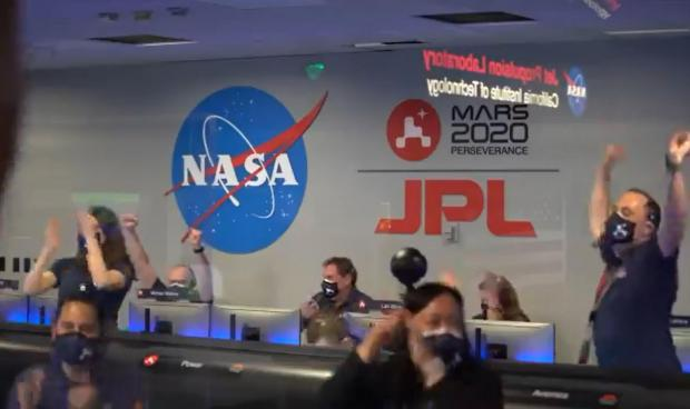 Barry And District News: Some of NASA's crew celebrating the landing of Perseverance