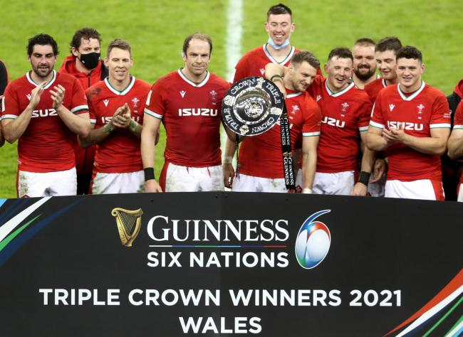 Wales celebrate winning the Triple Crown on Saturday
