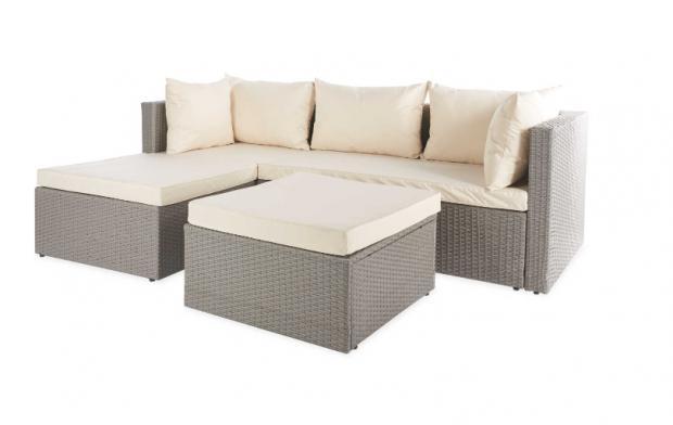 Barry And District News: Grey & Cream Rattan Corner Sofa. (Aldi)
