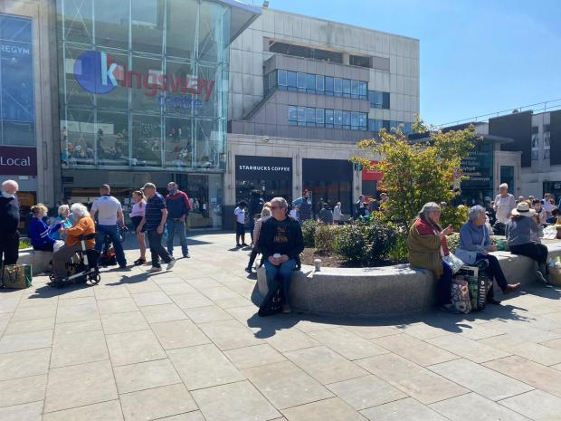 Barry And District News: The sitting area between Kingsway and Friars Walk was bustling.