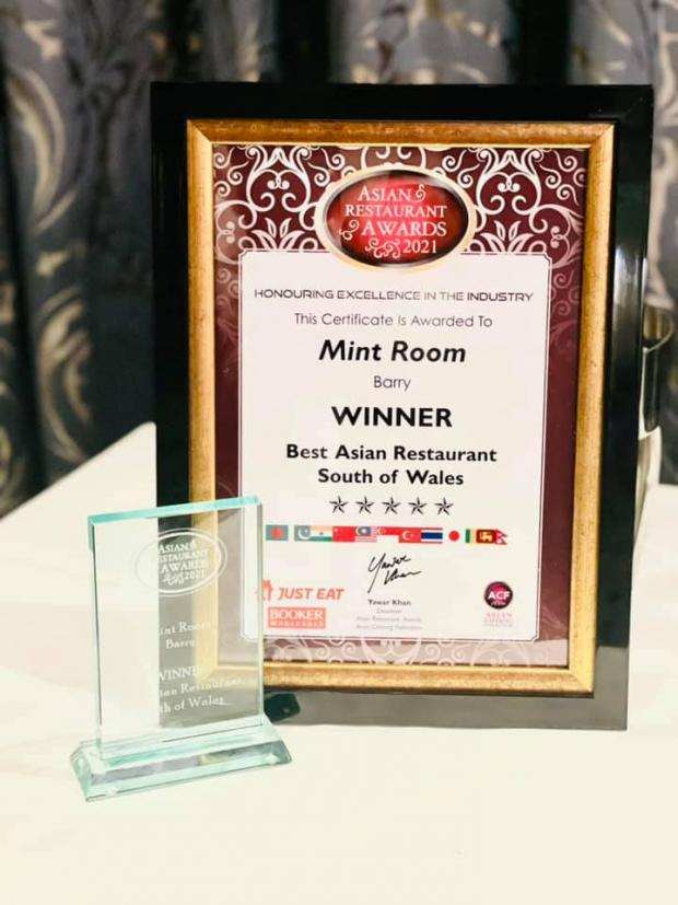 Barry And District News: Mint Room won Best Asian Restaurant in South Wales in Asian Restaurant Awards 2021