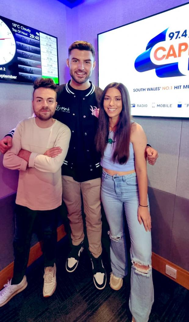 Barry And District News: Capital South Wales' Josh and Kally with Love Island winner Liam Reardon