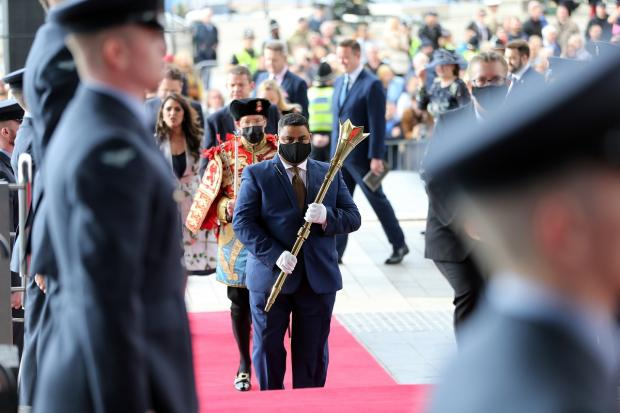 Barry And District News: Mace bearer Shazad Khan arrives for the official opening of the Sixth Welsh Parliament. Picture: Huw Evans Picture Agency