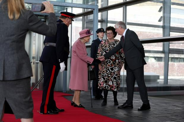 Barry And District News: The Queen meets first minister Mark Drakeford and Senedd llywydd Elin Jones outside the Senedd. Picture: Huw Evans Picture Agency