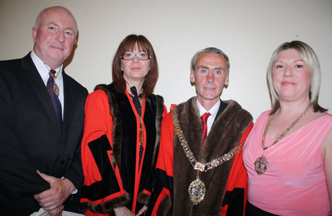 NEW LINE-UP: Mayor Cllr Les Sword with his consort, wife Rachel (right), and deputy mayor Cllr Claire Curtis, with her consort, husband Cllr Rob Curtis.