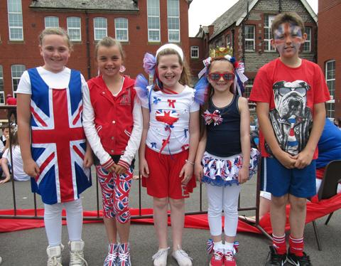 PATRIOTIC: Holton Primary youngsters dressed up to celebrate.