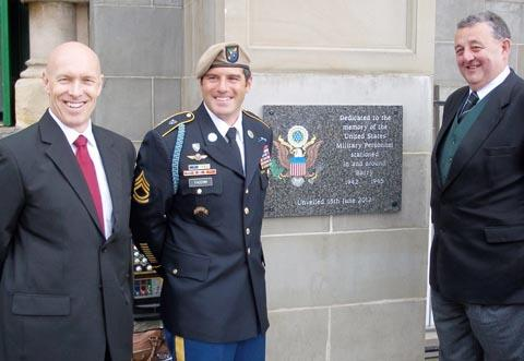 SALUTE: Dr Jonathan Hicks, SFC Peter Facchini and Robert Fouracre of AG Adams.