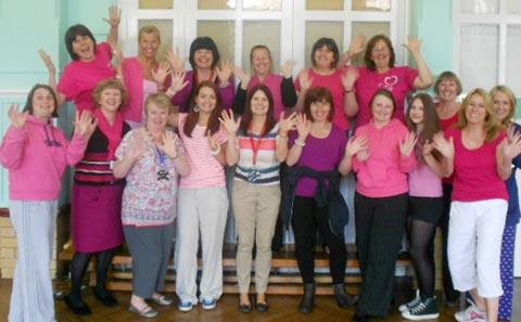 LIMBERING UP: Some of the Gladstone Girls who are taking part in this year's Race for Life.
