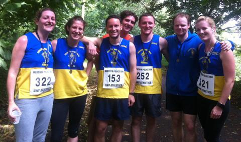 RUNNERS: (from left) Clare O'Reilly, Emily Luke, Gary Brown, Richard Jackson-Hookins, Chris Seal, Andrew Jones and Lindsey Hunt.