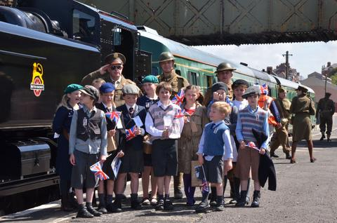 LIVING HISTORY: Evacuees at the station during Wartime Weekend.