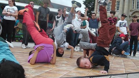 BREAK DANCING: Members from the last project, which finished in the Summer, performing at the Big Street Dance Day as part of the Big Dance 2012 initiative.