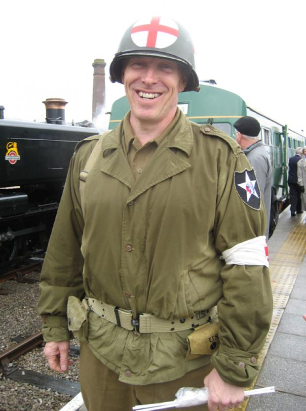 LOCAL HISTORIAN: Dr Hicks at the recent Wartime Weekend in Barry.