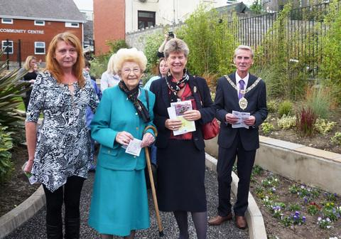 COLOURFUL GARDENS: Jane Hutt AM, Mrs Lockwood and Jean Jones, Town Mayor, Councillor Les Sword.