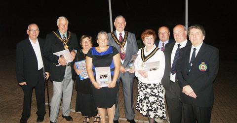 GOLDEN CELEBRATION: (l-r) Barry and Vale Cllr Howard Hamilton, Vale Mayor Cllr Eric Hacker, Mrs Hamilton, club captain Sheila Mott, RCT Mayor Cllr Doug Williams, Mrs Williams, and the club's Phil Rees, Alun Humphreys and Les Lewis.
