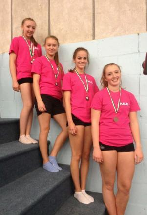PROUD: Penarth Gymnastics Club's mainstream senior girls at the Welsh Intermediate Championships in Swansea Gym Club.