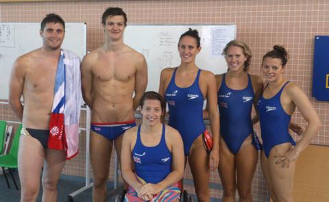 SWIMMER: David Davies, far left, pictured with Penarth's Ieuan Lloyd and other swimmers at Swansea'a National Pool.
