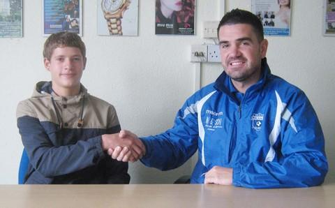 ACADEMY SIGNEE: 16-year-old David Gwyn-Shallis with Mike Fowler.