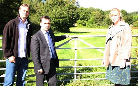 CONCERNED: Wenvoe Residents Action Group members Darren Bellamy (left) and Elizabeth Mildred with Vale MP Alun Cairns