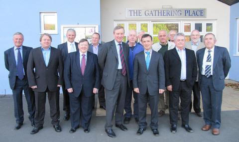 ST ATHAN: Armed Forces Minister Andrew Robathan MP (centre) with Alun Cairns MP and local community leaders.