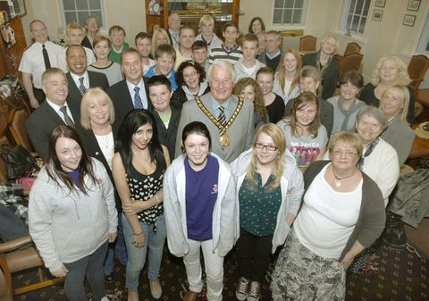 WELL DONE: Young people from all over the Vale received their volunteering award certificates from Vale Mayor, Cllr Eric Hacker.