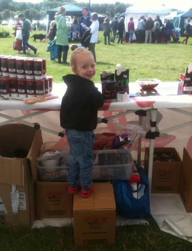 EVERY LITTLE HELPS: Three-year-old Zeb takes care of his dad's sauce business and his inheritance!