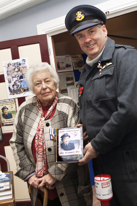 LAUNCH MEETING: Barry at War Group chair Ade Pitman with WAAF veteran and author Eileen Younghusband at the Glamorgan Wartime Heritage Centre launch. Picture: Roxanne Phillips.