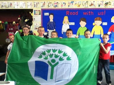 Colcot Primary pupils celebrate their green success.