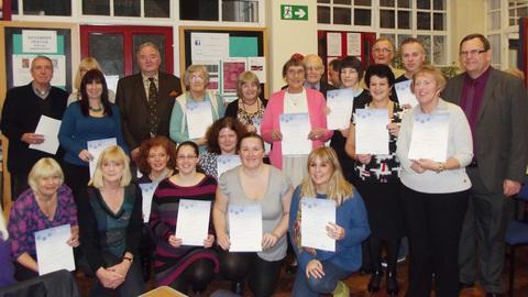 Cllr Stuart Egan, Vale Cabinet Member for Lifelong Learning (far right) with some of the adult learners.