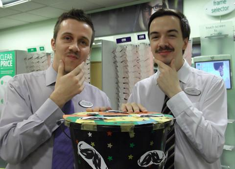 SPEC-SHAVERS: Jamie Pullen and Leigh Whitfield show off their Movember 'taches.