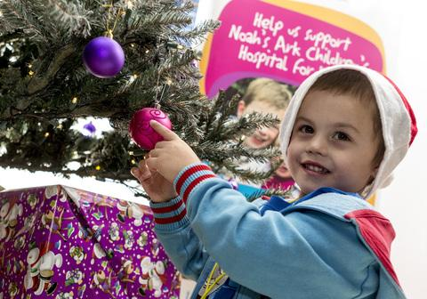 SPECIAL HONOUR: James Strahand lit this year's Christmas tree at the Noah's Ark Children's Hospital for Wales.