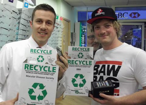 SKIER'S SUPPORT: Freestyle skier Robert Taylor, who is pictured with Specsavers Barry director Jamie Pullen, is helping the local store raise money for the Macular Disease Society.