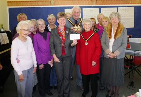 LONG STANDING SERVICE: Jane Hutt AM, Cllr and Mrs Hacker (Mayor and Mayoress), Alison Molyneux and the Barry Barnardo's Committee.