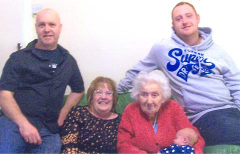 FIVE GENERATIONS: Top (l-r): Mark Currie, Jamie Currie. Bottom (l-r): Susan Currie, Peggy Taylor, Archie Currie.