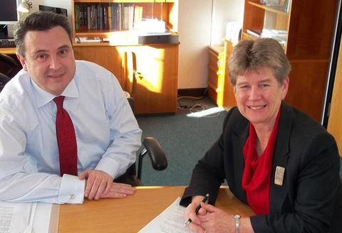 JUST BEGINNING: Jane Hutt AM and Huw Lewis AM , Minister for Regeneration discussing Barry regeneration last week.