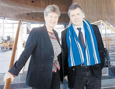 CAUSING A STIR: Jane Hutt AM with Bruce Dickinson at the Senedd