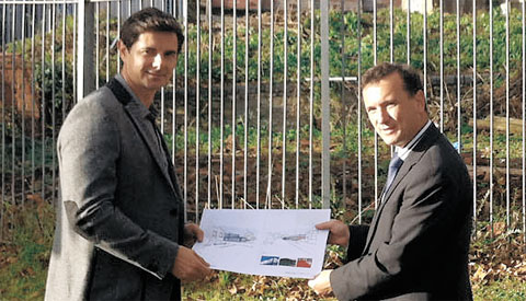 POLITICAL BACKING: Craig O'Shea with Vale MP Alun Cairns at the plot of land