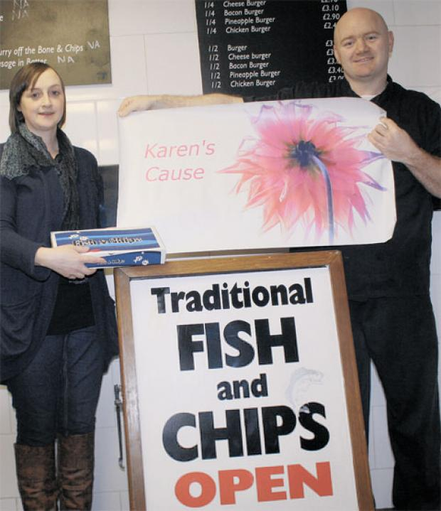 CHIPPING IN: Karen Holroyd and Curtis Shier hope customers can feed into the fight against cancer