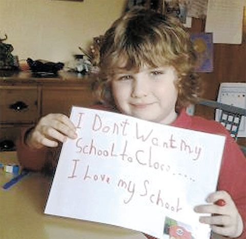 IN MY VIEW: Seven-year-old Daniel Sloper said he was very upset to hear of the threat of closure and created a poster