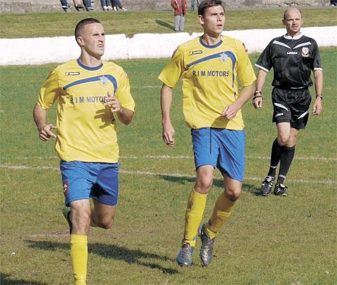 TOWN STRIKING DUO: TJ Nagi (left) and Ryan Evans were both on target as Barry Town won 5-2 against Bridgend