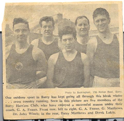 BARRY HARRIERS CLUB: Seen in this picture are five members of the club who have enjoyed a successful season under their coach, G A Fraser. Front row (l-r) G A Fraser, G Matthews, Dr John Winch; in the rear, Barry Matthews and Derek Lakin.