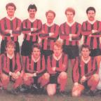 Sea View FC, winners of the South Wales Senior Cup on May 17, 1983. Back row (l-r) T Clarke, G Oxley, N Burniston, M Roscrow, A Stamp, J Blackie, D Higgett, M James, M Clemo. Front row (l-r) J Griffiths, S Hill, P Twomey, T Adams, I Twomey, Doc Brown.